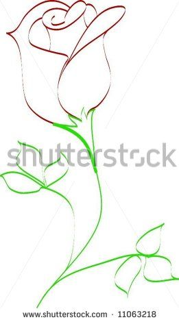 Simple line drawing of rose bud - stock vector                                                                                                                                                                                 More