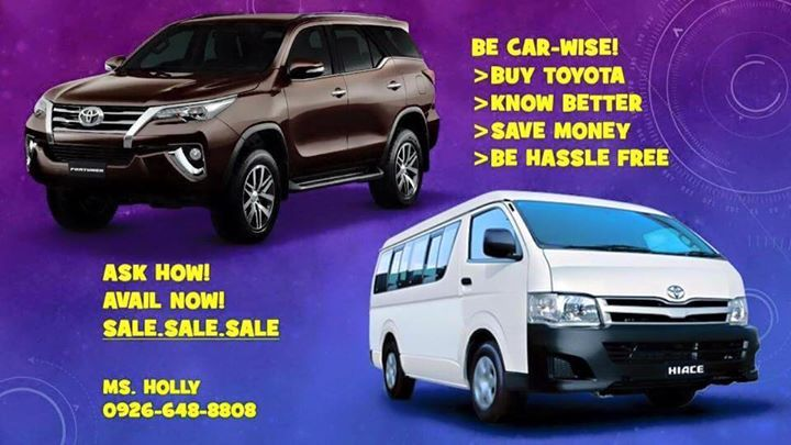 >BE CAR WISE! INVEST NOW! CONTACT MS. HOLLY OF TOYOTA ALABANG INC @ 0926-648-8808 TO HELP YOU SUCCESSFULLY OWN A BRAND NEW TOYOTA VEHICLE.  >PROMOS AND BIG DISCOUNTS FOR OFW/SEAMAN/BALIKBAYAN/ALL LOCALLY EMPLOYED/WITH BUSINESS ARE ALL WELCOME TO APPLY.  SURE 2016 TOYOTA UNITS ALL IN DP!!!👍👌👍👌 ✅✅✅No Hidden Charges!  ✅✅✅Easy Approval! ✅✅✅Fast Release! ✅✅✅Sure UNIT AVAILABILITY!!  ***No CMAP and NFIS **ALL IN Low Downpayment ***FAST APPROVAL PROVIDED WITH ATTACHMENTS ===========================