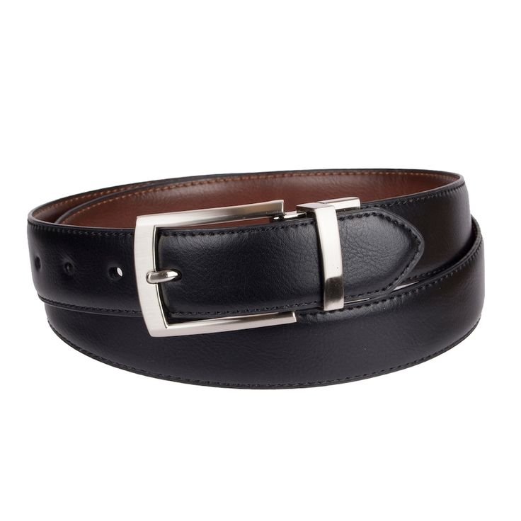 Men's Croft & Barrow® Feather Edge Stretch Reversible Belt, Size: Small, Grey (Charcoal)