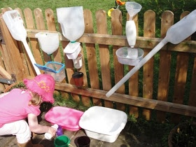 Sun Hats & Wellie Boots: Water Play: Construction Area - love this for helping little ones experiment with water!
