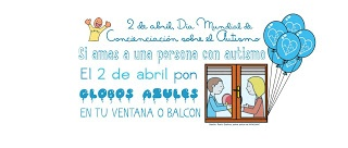 Concurso fotografia globos azules dia del Autismo.