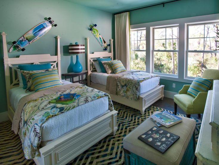 Fun and youthful, the home's second guest bedroom celebrates life at the beach…