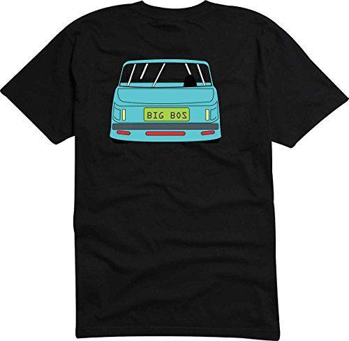T-Shirt - Camiseta D734 Hombre negro con la impresión en color L - diseño Tribal cómico / coche Viejo contador de tiempo / azul pequeño coche Lowrider #regalo #arte #geek #camiseta