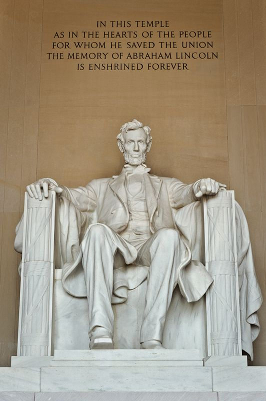 Lincoln Memorial (USA). 'There's something extraordinary about climbing the steps of Abe Lincoln's Doric-columned temple, staring into his dignified eyes, and reading about the 'new birth of freedom' in the Gettysburg Address chiseled beside him.' www.lonelyplanet....