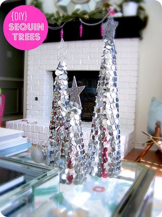 sequin christmas trees. So easy to make!