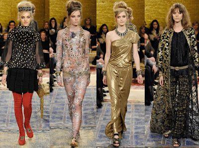 LLUVIA DE ORO las prendas estuvieron cargadas de color dorado, bordados, brocados y ornamentación marcaron la colección bizantina cuya indumentaria tuvo mucha influencia oriental. CHANEL