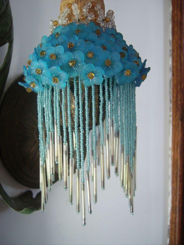 glass seed bead light lamp shade silver mercury fringe lamp shades. Black Bedroom Furniture Sets. Home Design Ideas