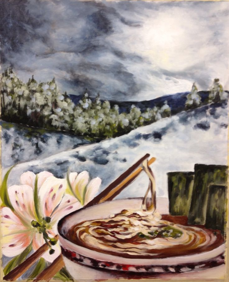 New acrylic, a winter moment of snowshoeing and a ramen lunch.