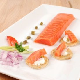 Salmon tenderloin, hand-cut, hand-trimmed fillets smoked using the finest oak wood for very mild yet exquisitely buttery flavor.