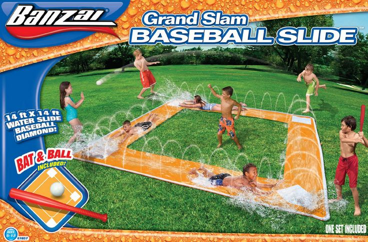 Keep The Kiddies Cool In The Backyard with this Slip and Slide Baseball Water Sport Grand Slam w/ Bat Ball 16' x 16 Diamond - Water Slide Game Set! #summertime