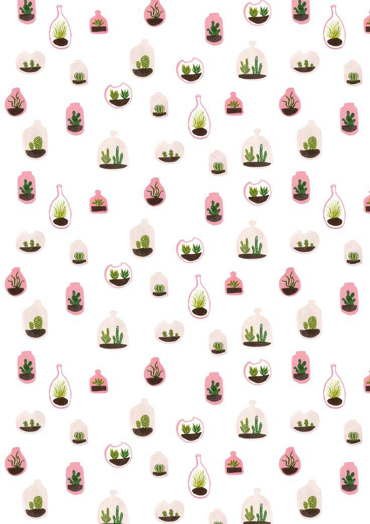 pink terrariums surface pattern design / succulents / cacti / gouache painting