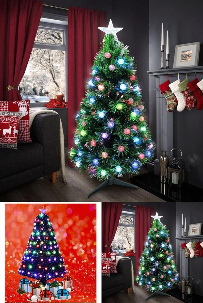 Christmas Xmas Tree Green Artificial Super Fibre Optic  Multi LED Bulbs Home