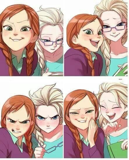Anna and Elsa selfies. Cute~