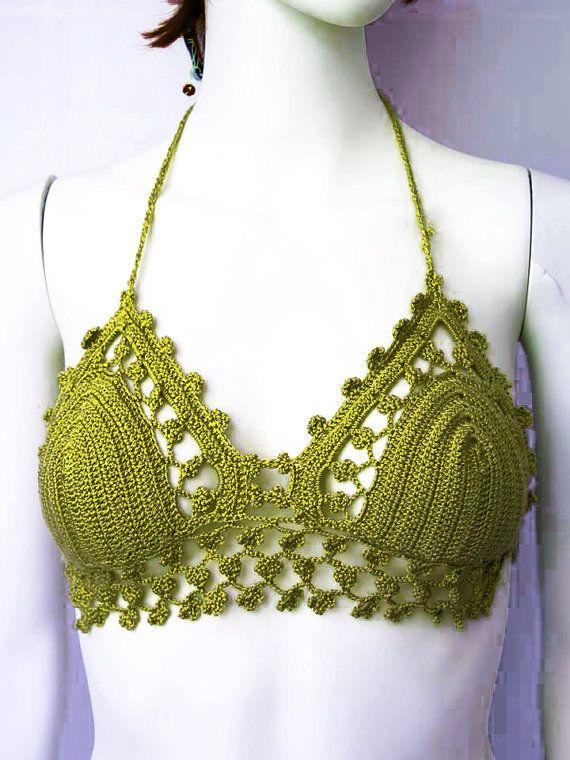 Green Bikini Top LACE CROCHET TOP Crop Top Boho Hippie