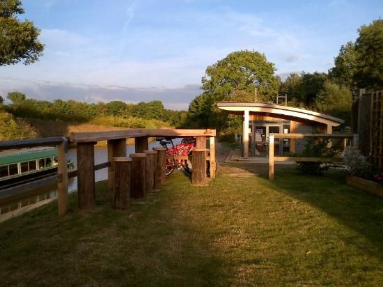 Onslow Arms public house beer garden next to the Wey & Arun Canal Trust Canal Visitor Centre in Loxwood, West Sussex