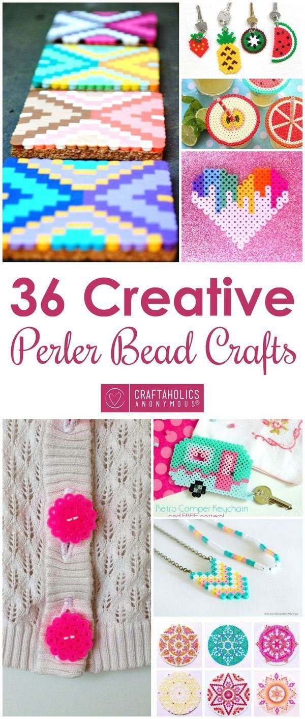 Looking for new perler bead activities for your arts and crafts makerspace?  Check out 36 Perler Bead Craft pattern ideas and tutorial on http://www.CraftaholicsAnonymous.net