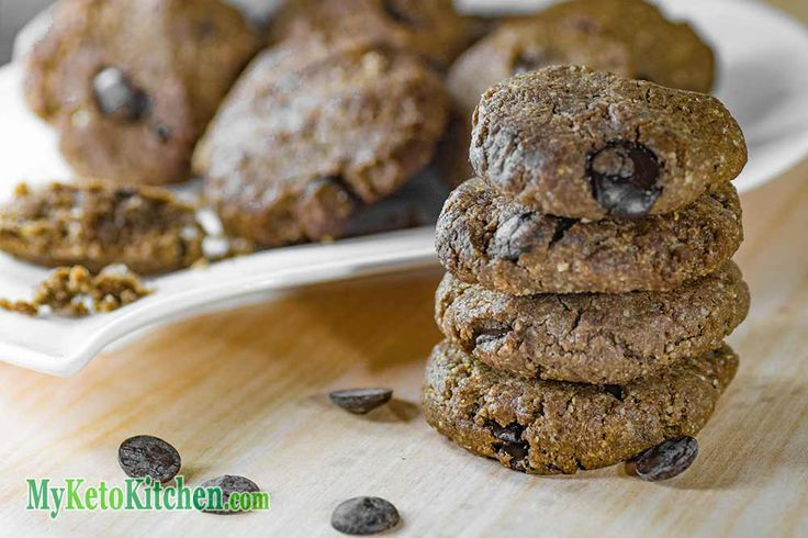 These EASY to make, Delicious, Low Carb Chocolate Chip Keto Cookies recipe is one to pin to your collection of tasty LCHF ketogenic snacks. We love them!
