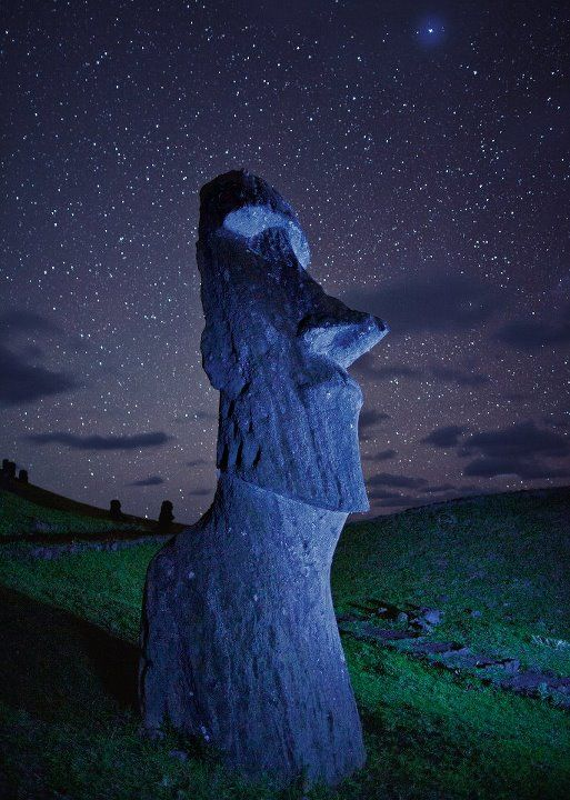 Easter Island, a Polynesian island in the southeastern Pacific Ocean. One of world's most isolated inhabited islands, over 2,000 miles from nearest population center (Tahiti  Chile). Known for giant stone monoliths (Moai) carved out of volcanic rock that dot coastline. People call themselves the Rapa Nui.