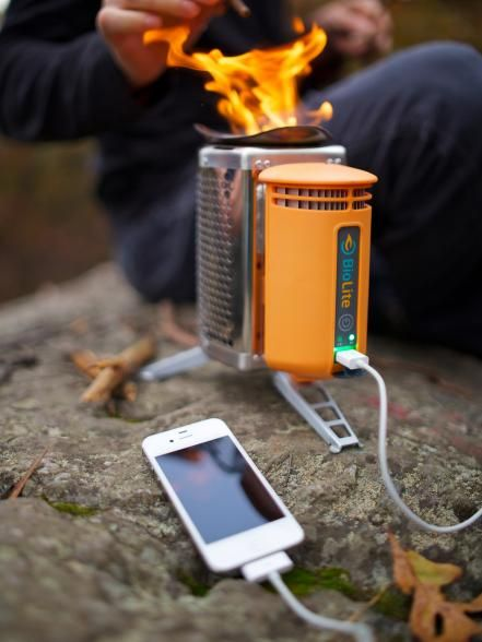 Heat up your soup and recharge your smartphone, in one go. The 2-pound BioLite CampStove cleanly burns wood — sticks, twigs, whatever — and uses the waste heat from the fire to create electricity via a thermoelectric generator. It can power up most USB-chargeable devices.