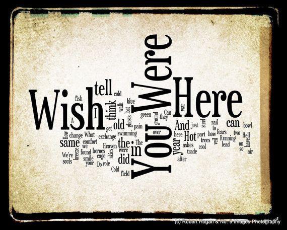 Wish You Were Here Lyrics - Pink Floyd Word Art - Word Cloud Art Woodblock Print - Gift Idea via Etsy