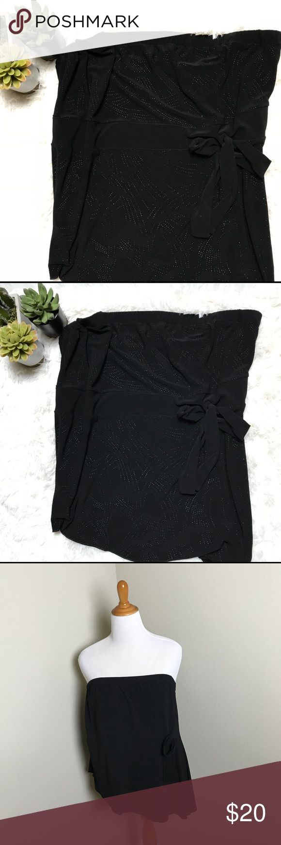 Sparkly black tube top Lovely sparkly black tube top with tie accent.   Photos are the description of the item. Any flaws would be noted, otherwise, garment is in great condition. Lane Bryant Tops