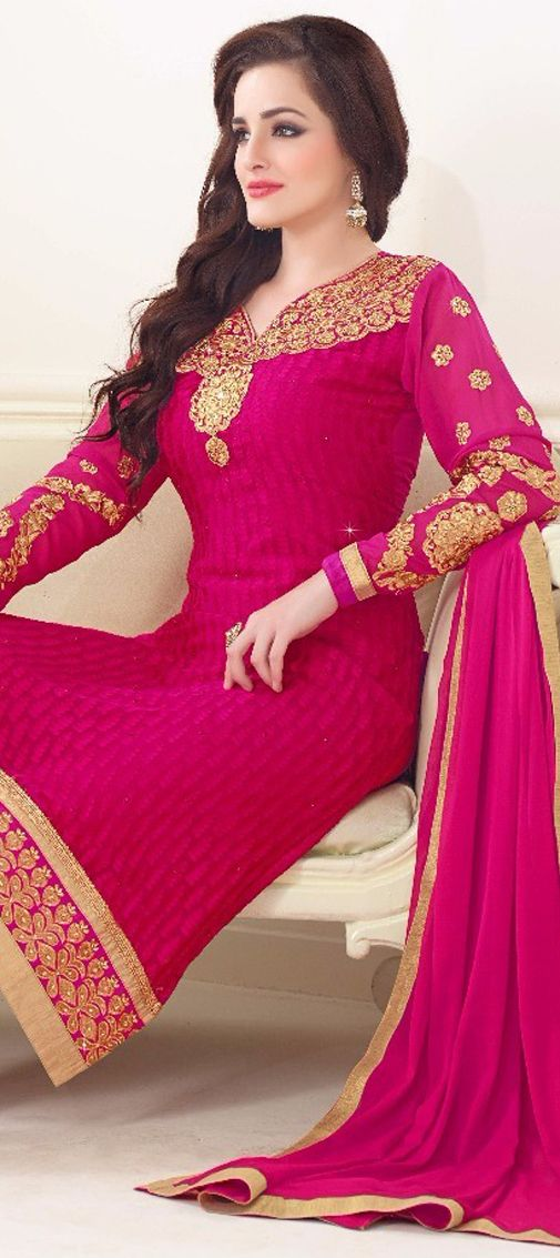 441177: Pink and Majenta color family unstitched Party Wear Salwar Kameez .