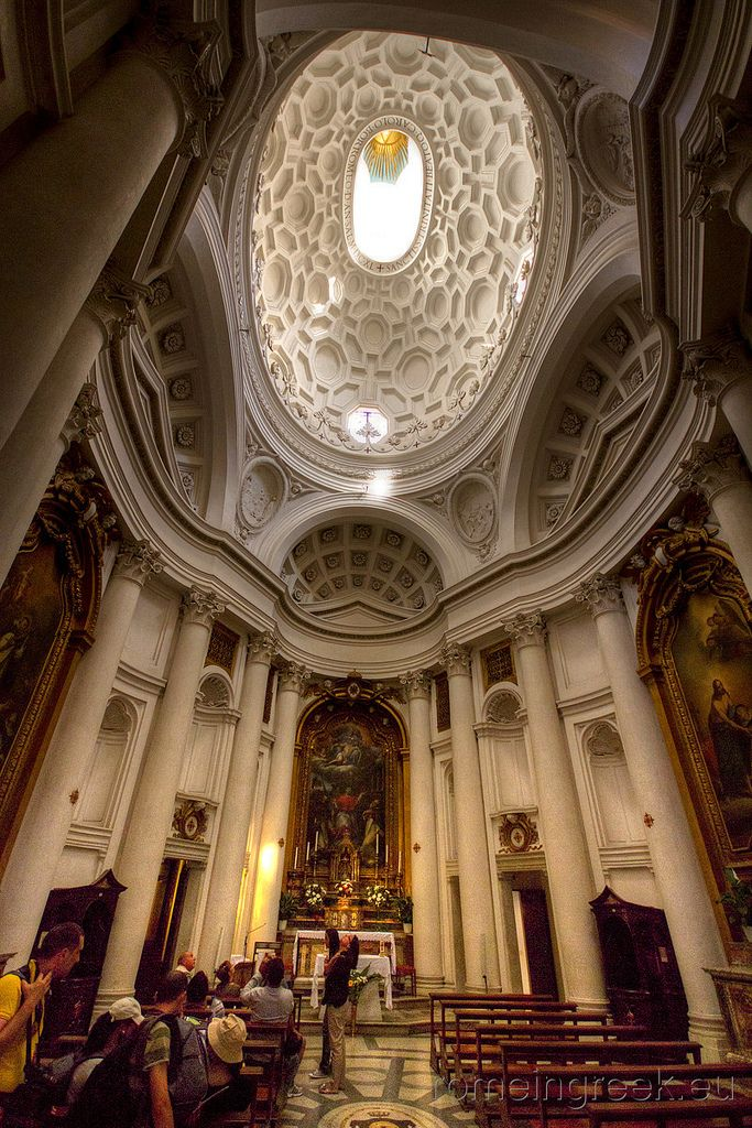San Carlo alle Quattro Fontane - Francesco Borromini - 1634-1644, Rome  NOTES:  - undulating waves in the shape of an oval that is balanced between the convex and concave - mathematics are crucial with a complex geometry that resolves in a perfect number - intellectuality meets Baroque - Connected to Santa Costanza