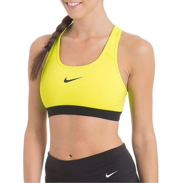 Nike Pro Classic Sports Bra (44 CAD) ❤ liked on Polyvore featuring activewear, sports bras, volt, yellow sports bra, nike, racer back sports bra, racerback sports bra and nike sportswear