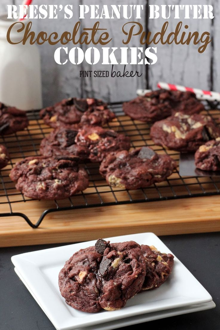 The BEST Reese's Peanut Butter Chocolate Pudding Cookies. Only for chocolate peanut butter lovers!