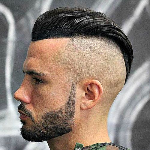 Hairstyles For Round Faces - Bald Fade with Slick Back