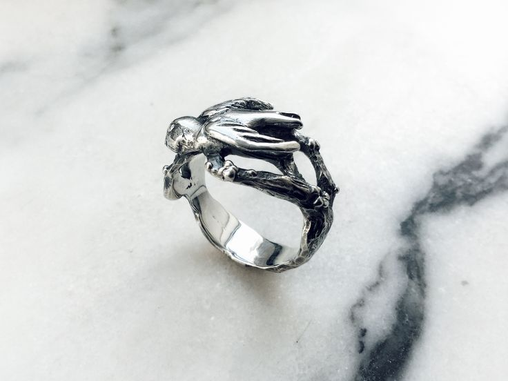 Swallow ring hand sculpted