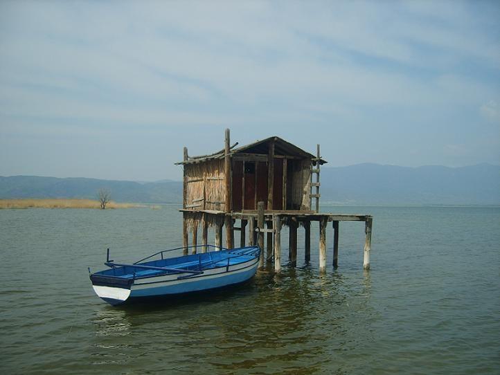 The Dojran Lake in the town of Dojran.