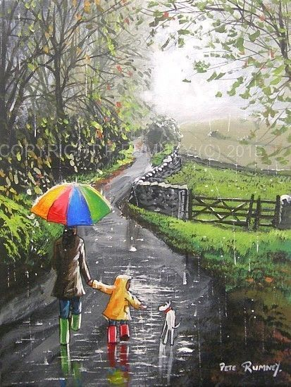 """PETE RUMNEY FINE ART ORIGINAL OIL ACRYLIC PAINTING DOG RAINDROPS DOWN THE LANE """" Just placed this in ebay shop, click on image to see """""""