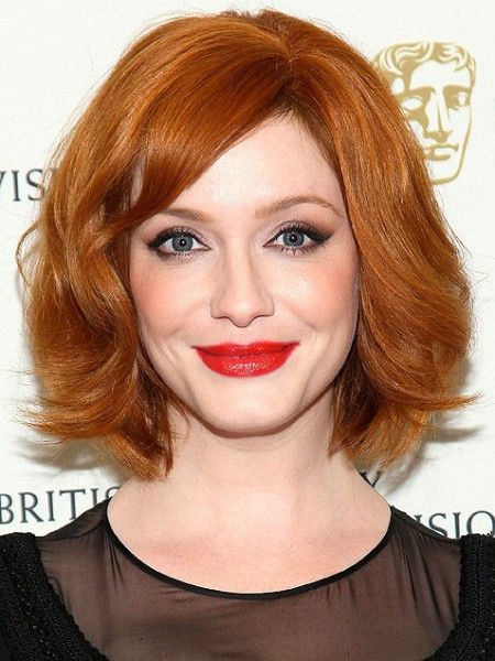 Mad Menscreen sirenChristina Hendricks' bob is one of the most flattering options around, thanks to its delicate side-swept bangs and face-framing waves. To get the look, curl front sections around a large-barrel iron, wrapping strands in the direction away from your face.                                     via @AOL_Lifestyle Read more: http://www.aol.com/article/2015/09/28/35-bobs-haircuts-that-look-amazing-on-everyone/20630851/?a_dgi=aolshare_pinterest#slide=12378|fu...