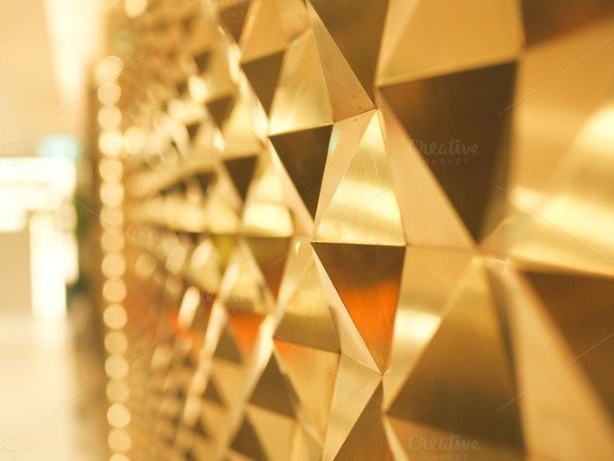 Golden Yellow low poly geometric abstract background with bokeh on the left. Poster Templates. $8.00