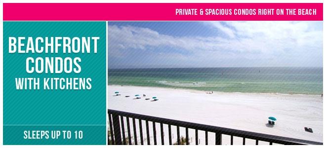 View from balcony of beachfront condos at the Sandpiper Beacon Beach Resort in Panama City Beach, FL