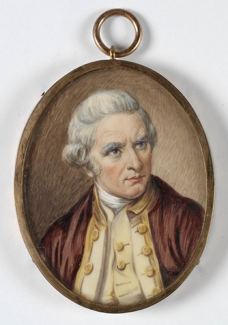 Captain James Cook. Watercolour on ivory miniature in gold frame.  Find more detailed information about this image: http://acms.sl.nsw.gov.au/item/itemDetailPaged.aspx?itemID=431489  From the collection of the State Library of New South Wales: www.sl.nsw.gov.au