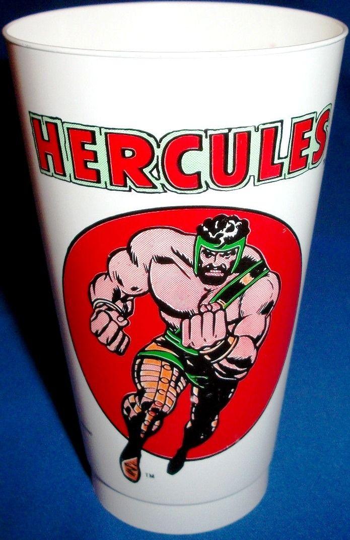 "twentiethcenturykid: "" THE BRONZE AGE OF SLURPEES Visions Of Certified Cool Marvel 7-Eleven Premium Slurpee Cups Circa 1975 Hercules "" probably"