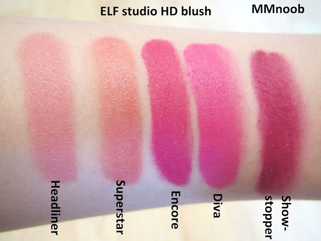 MMnoob: ELF studio HD blush review and swatches Encore, Diva, and Show stoppers are in the clear right winter color palette-they are hot pink, magenta, and burgundy