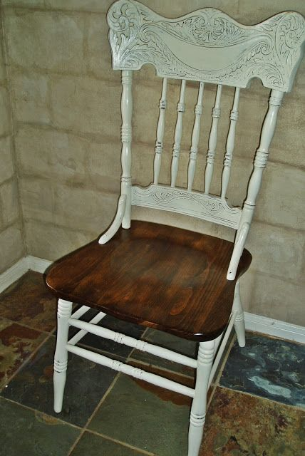 Painted press back chair with stained seat