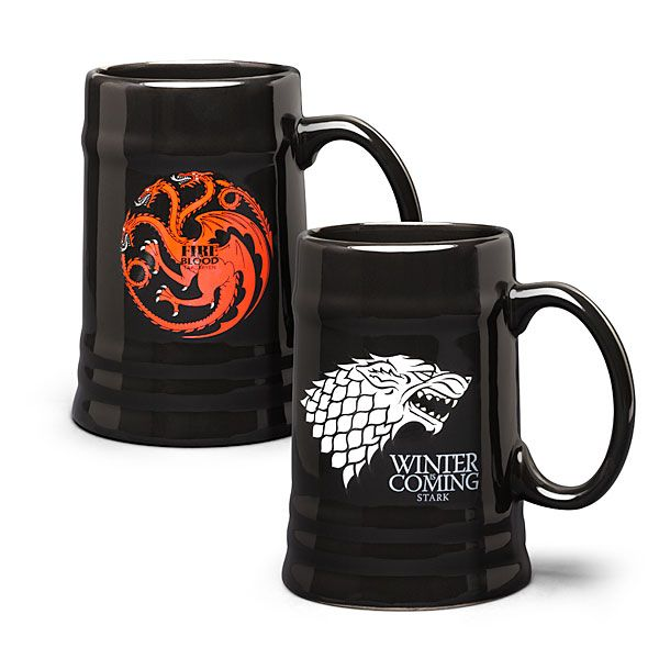 How about you fill one of these handsome ceramic steins with your favorite ale or wine? We've got House Stark and House Targaryen so you can show your allegiance to the characters you love best.