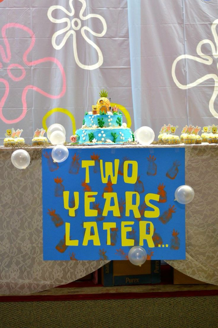 Handmade two years later sign for a spongebob party