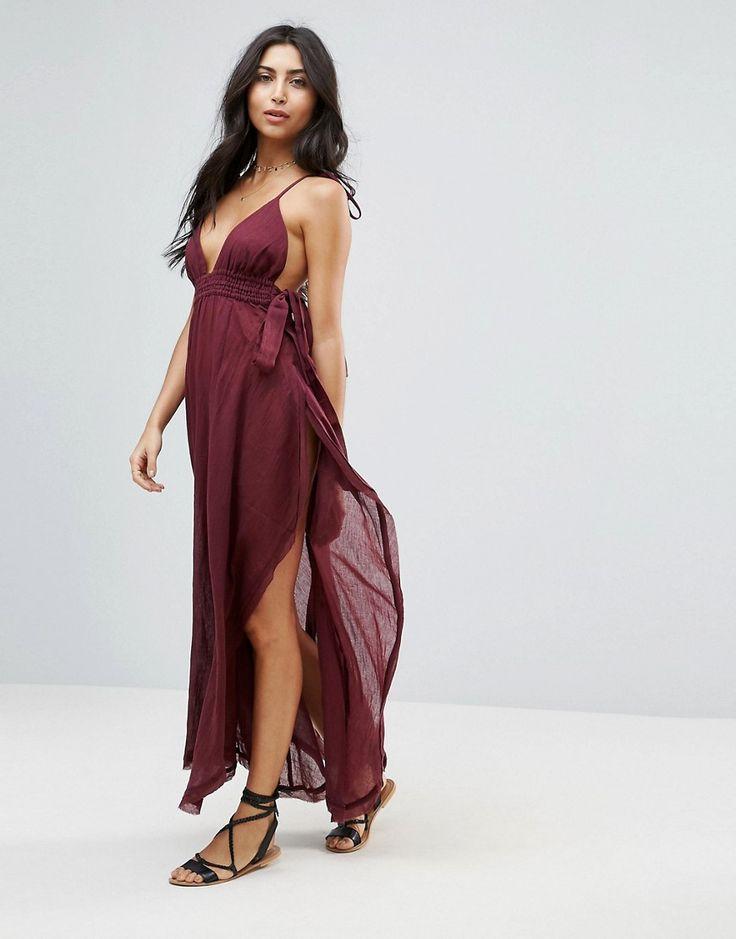 ASOS High Low Hem Tie Shoulder Maxi Beach Dress - Purple