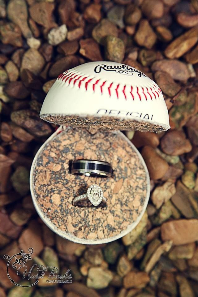 Wedding rings in baseball Heidi Burks Photography