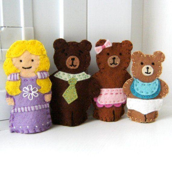 RESERVED for Cynthia - Goldilocks and the Three Bears Felt Finger Puppet Set