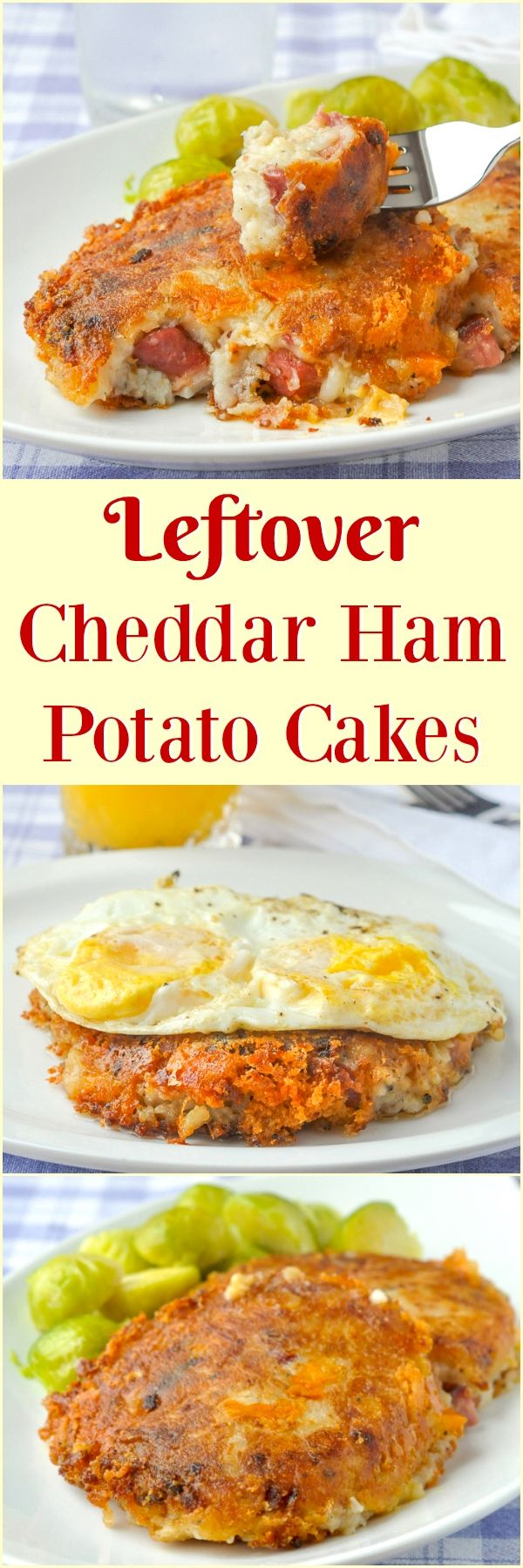 Cheddar Ham Potato Cakes – a leftover recipe winner! Leftover baked ham and mashed potatoes with cheddar cheese that's great for dinner or for brunch with poached or fried eggs.