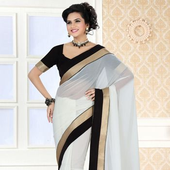 Off #White Faux Chiffon #Saree with Blouse