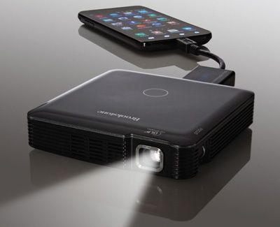 """Brookstone HDMI Pocket Projector .I never   leave home without it. Computer, tablet, some phones, portable dvd player + all   can be used with 64"""" hdmi projection yet no bigger than a cell   phone"""