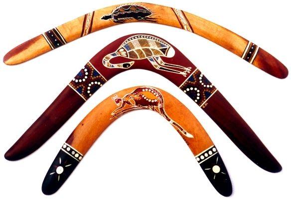 Boomerangs réalisés par des artistes Aborigènes d'Australie