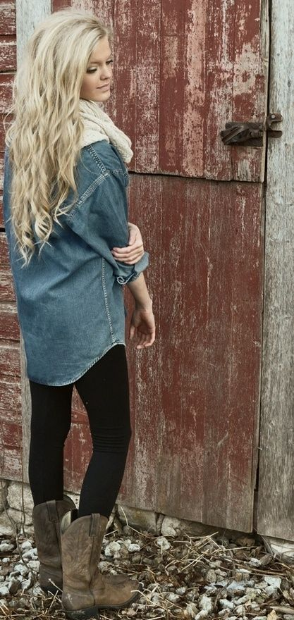 comfy street style fall outfits denim leggings boots scarf  stick a southerndoe tee under that denim shirt and i'm sold!